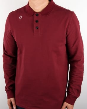 Ma.strum Long Sleeve Pique Polo Shirt Oxblood