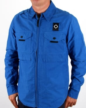 Ma.strum Pickerel Zip Through Overshirt Vibrant Blue