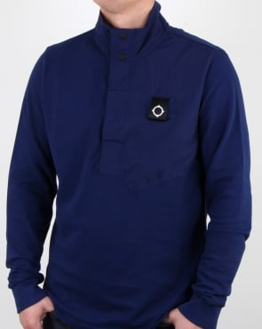 Ma.strum Pique Funnel Neck Dark Navy