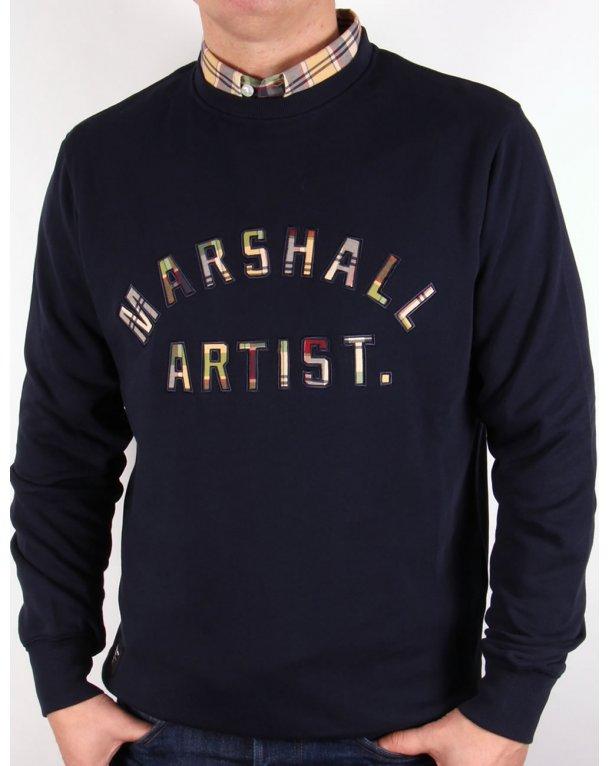 Marshall Artist Country Check Sweatshirt Navy Blue