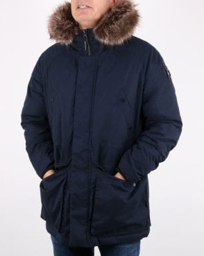 Marshall Artist Detachable Fur Hooded Parka Navy