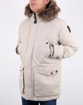 Marshall Artist detachable fur hooded Parka Stone