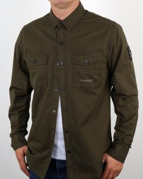 Marshall Artist Dual Pocket Military Overshirt Military Green