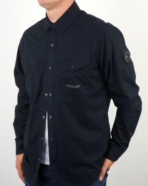 Marshall Artist Dual Pocket Military Overshirt Navy