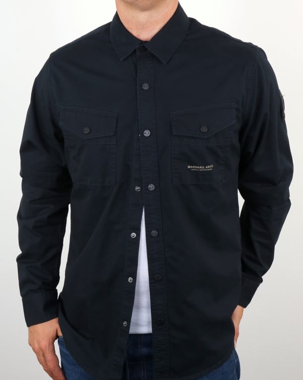Marshall Artist Dual Pocket Military Overshirt Navy