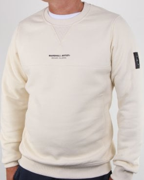 Marshall Artist Garment Dyed Crew Sweatshirt Off White