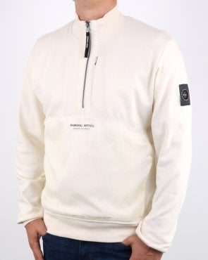 Marshall Artist Hybrid Half Zip Sweatshirt Off White