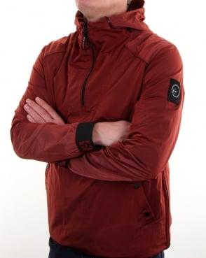 Marshall Artist Liquid Nylon Half Zip Jacket Burnt Orange