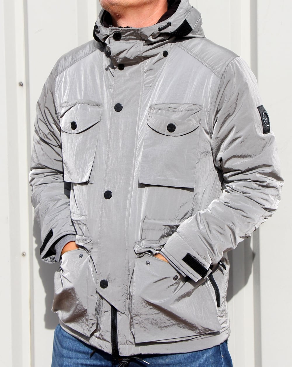 Marshall Artist Liquid Nylon Snow Parka Silver Jacket Coat