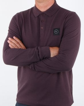 Marshall Artist Long Sleeve Polo Shirt Burgundy