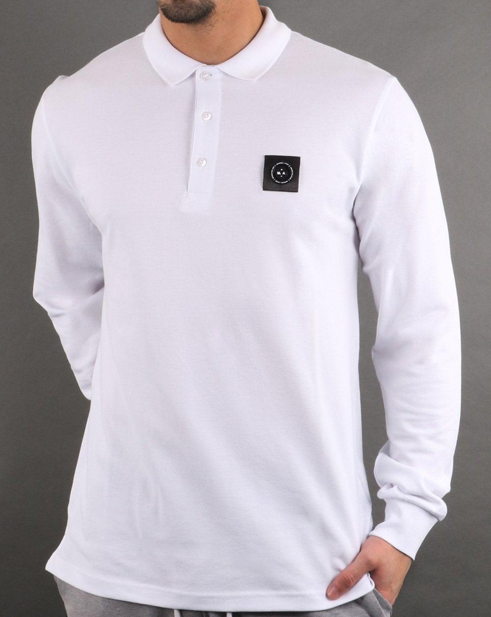 Marshall Artist Long Sleeve Polo Shirt In White Mens Clothing White