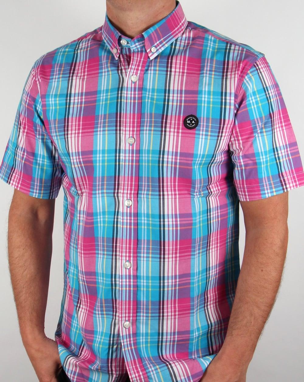 Marshall Artist Madras Check Shirt Magneta Mens Button
