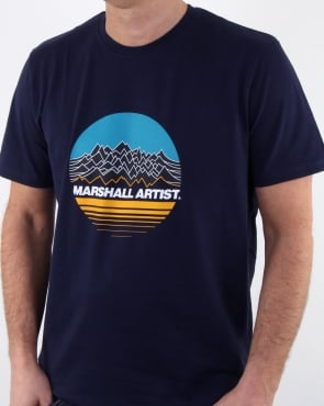 Marshall Artist Mountain Trek T Shirt Navy