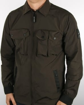 Marshall Artist Multi Pocket Hooded Shirt Jacket Khaki
