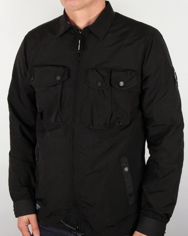 Marshall Artist Multi Pocket Overshirt Jacket Black