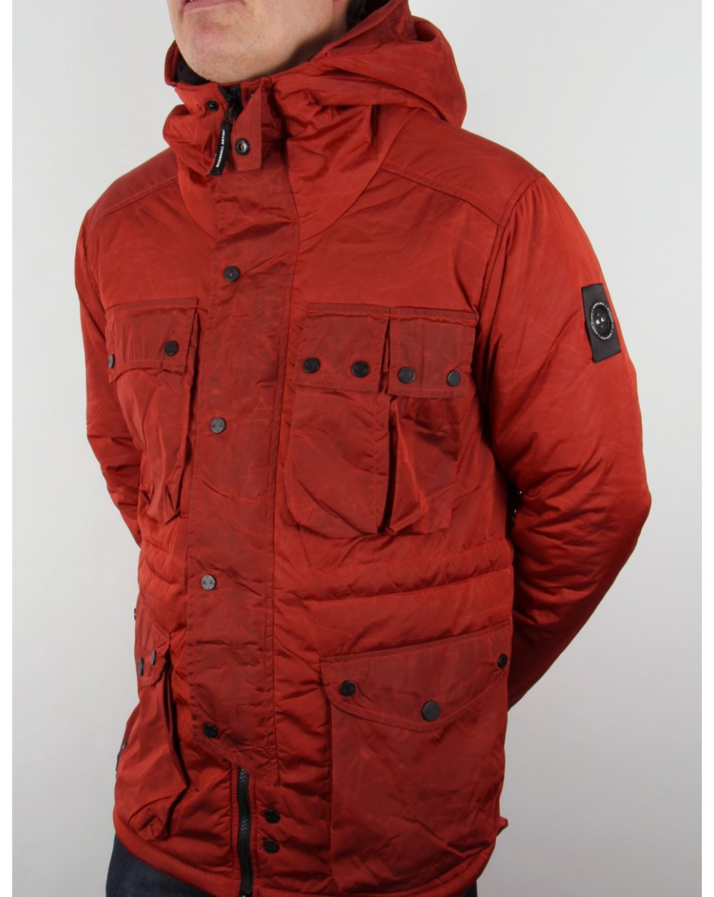 hooded jacket, burnt orange