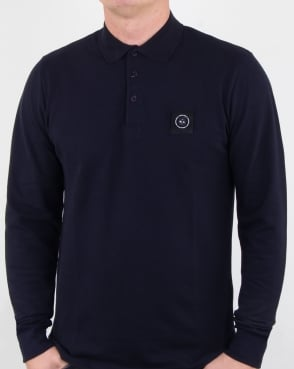 Marshall Artist Siren Long Sleeve Polo Shirt Navy