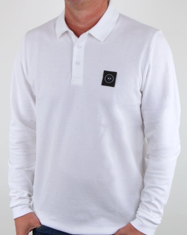 Marshall Artist Siren Long Sleeve Polo Shirt White