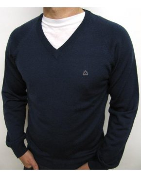 Merc Conrad Knitted Jumper Navy