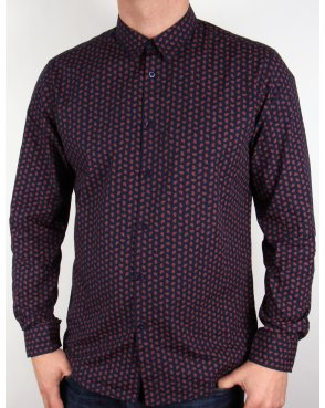 Merc Foxton Shirt Navy Blue