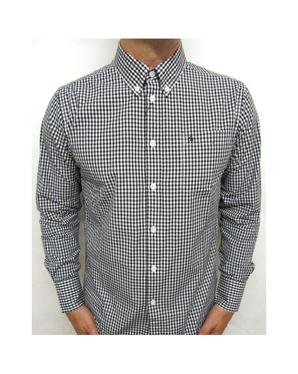 Merc Japster L/s Gingham Shirt Black