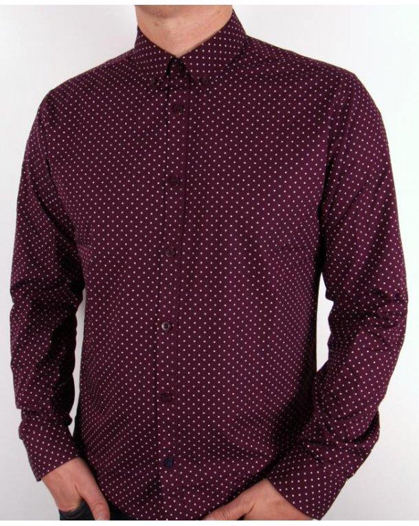 Merc Polka Dot L/s Shirt Wine