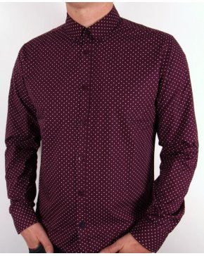 Merc Polka Dot L/s Shirt Wine