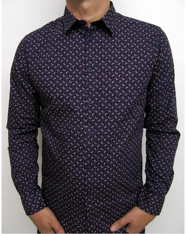 Merc Skipton Paisley Shirt Navy