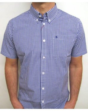 Merc Terry S/s Gingham Shirt Royal Blue