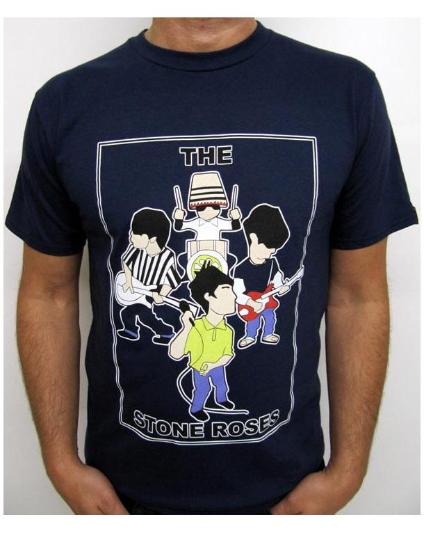Minty Stone Roses T-shirt Navy