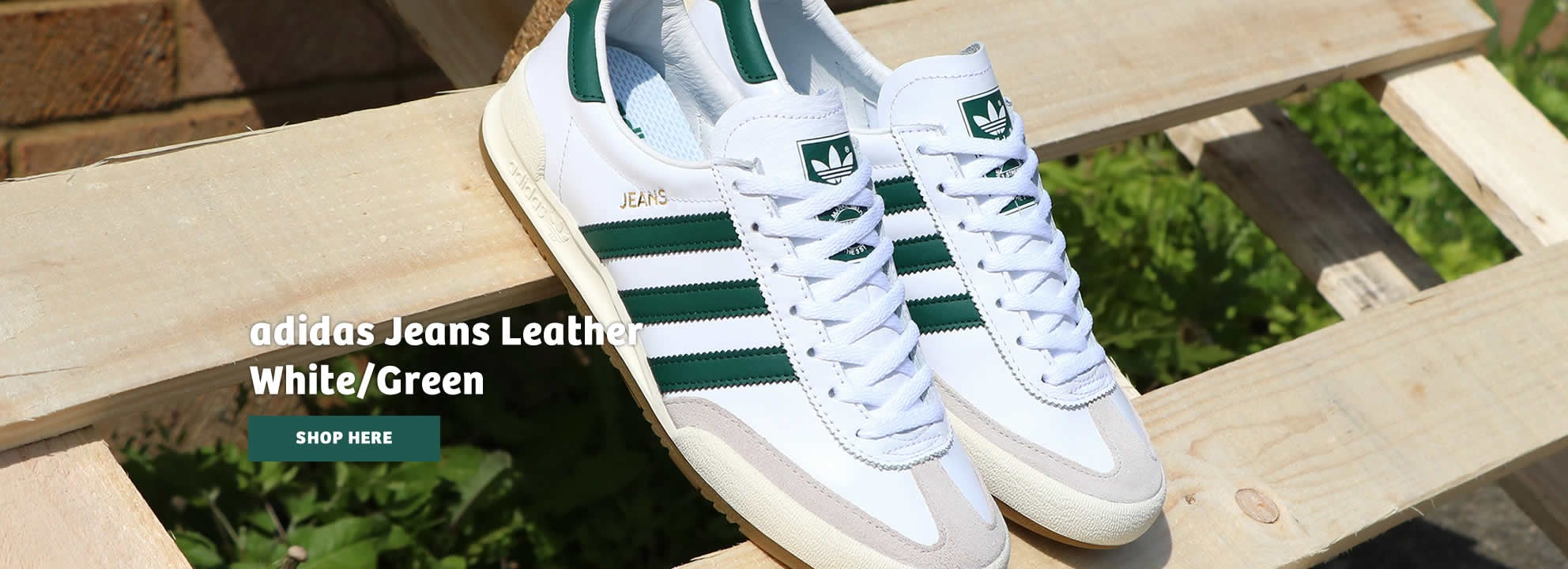 Adidas Jeans Leather White and Green