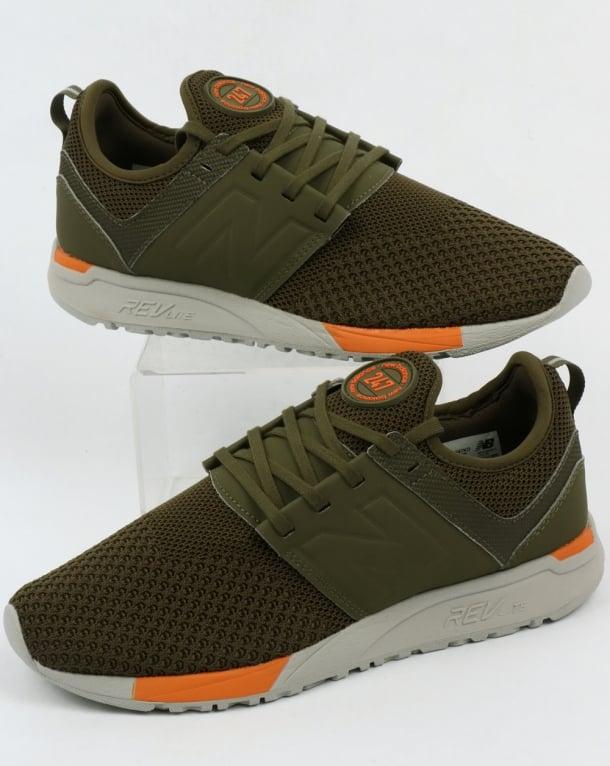 New Balance 247 Sport Trainers Olive/orange