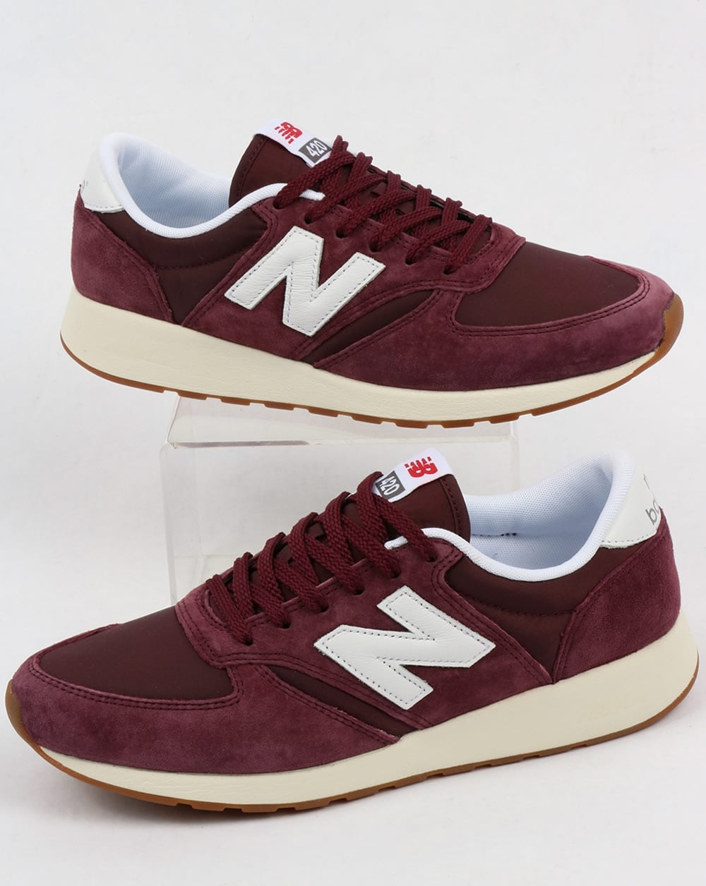 new balance 420 re engineered suede trainers burgundy white shoes running 70s. Black Bedroom Furniture Sets. Home Design Ideas
