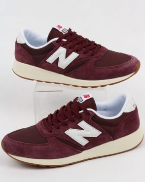 New Balance 420 Re-engineered Suede Trainers Burgundy/white