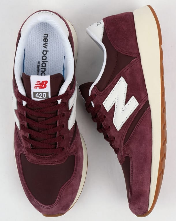 New Balance 420 Re Engineered Suede Trainers BurgundyWhite