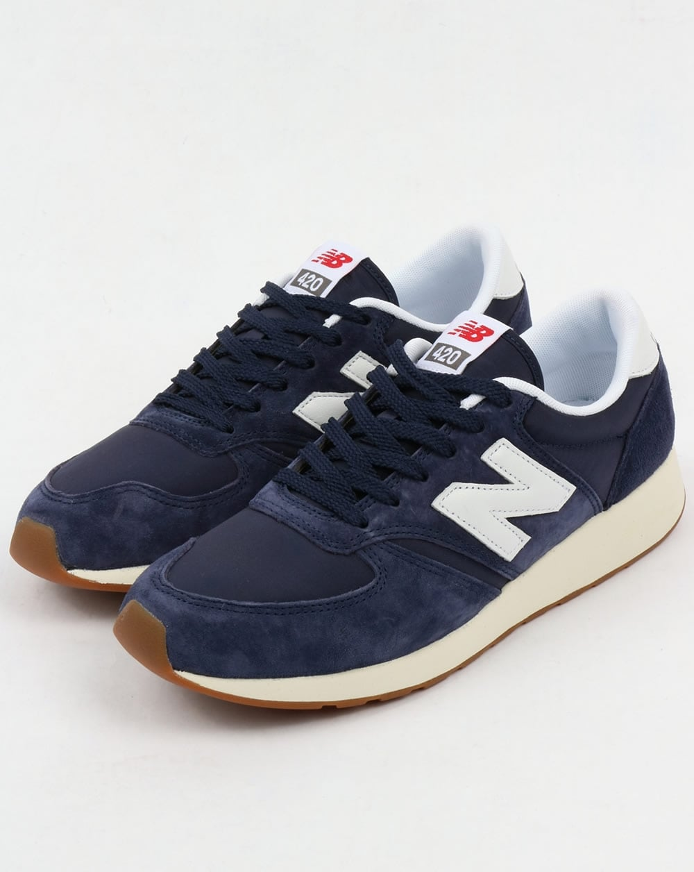 new balance 420 re engineered suede trainers navy white blue shoes running. Black Bedroom Furniture Sets. Home Design Ideas
