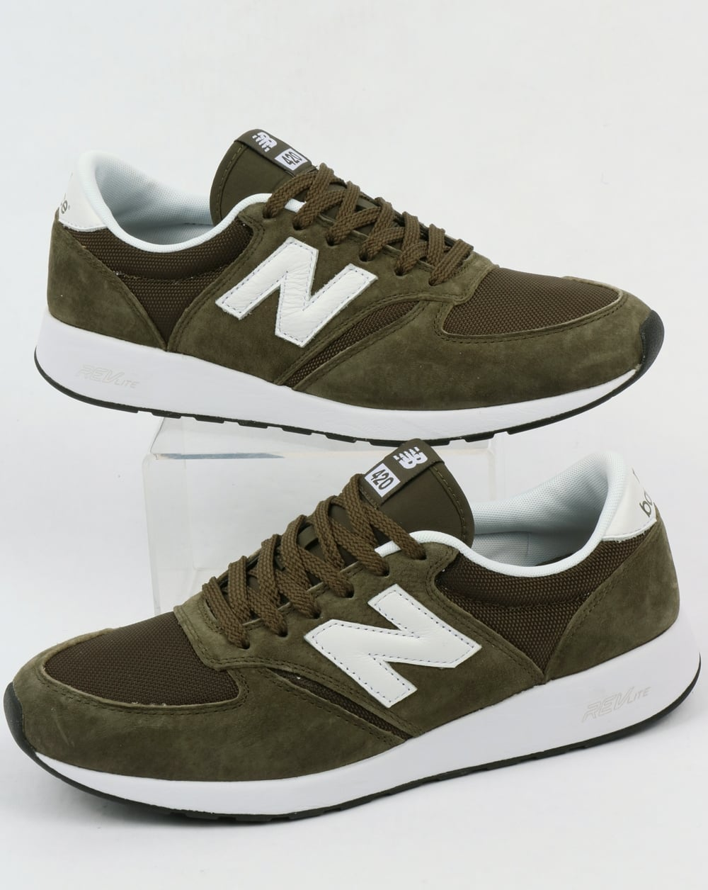 5b25a4b4caa5a New Balance 420 Re-Engineered Trainers Olive Green,shoes,running,70s