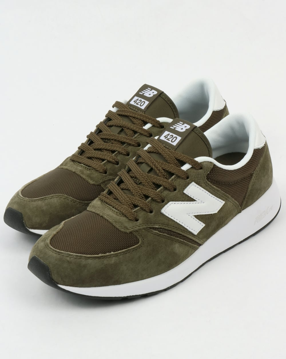 New Balance 420 Re-Engineered Trainers Olive Green,shoes,running,70s