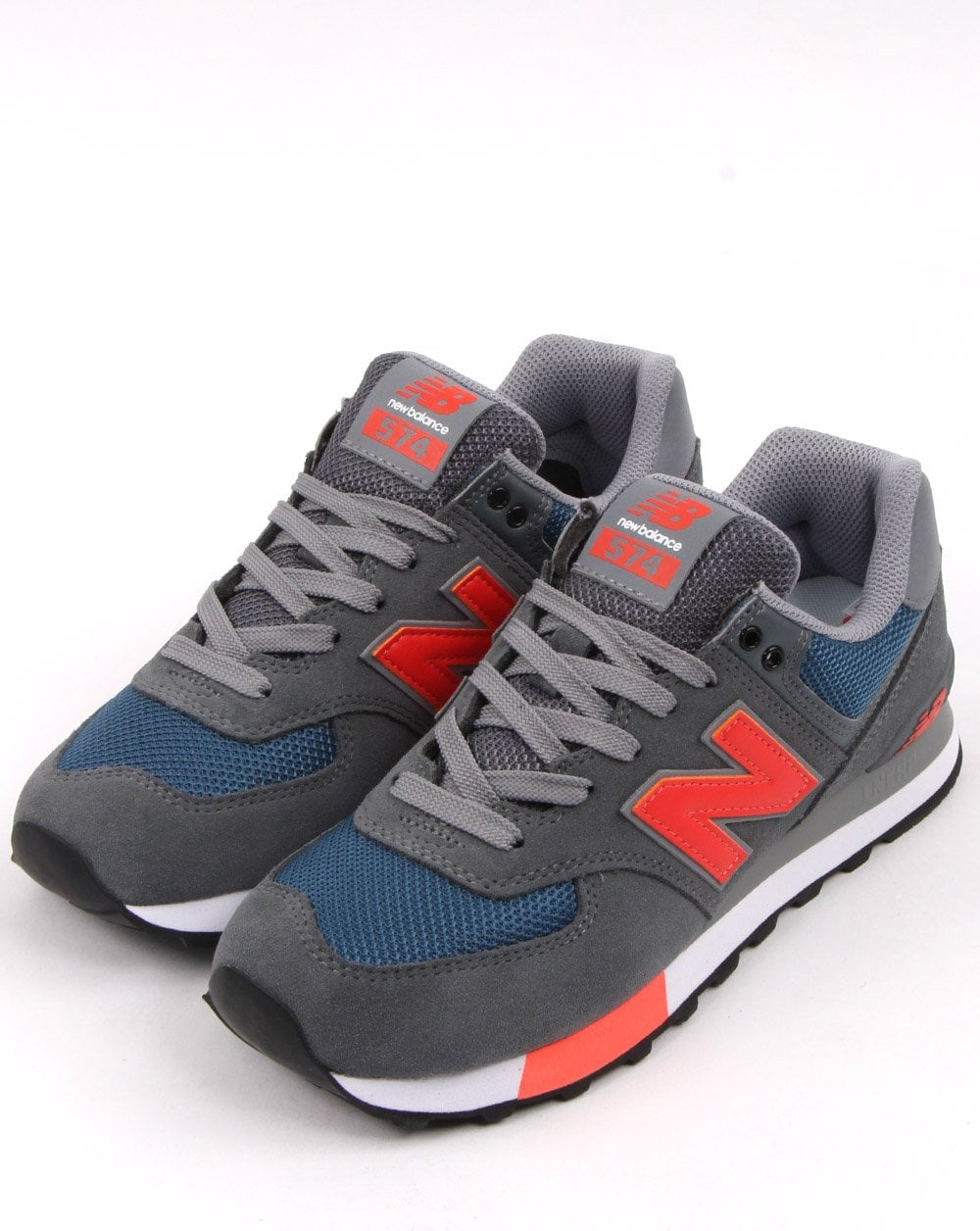 wholesale dealer 835c1 78769 New Balance 574 Trainers Grey/Orange