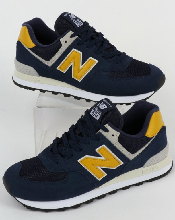 best sneakers e905a 4c859 New Balance 574 Trainers Navy/Yellow