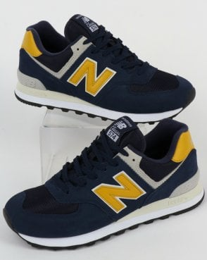 New Balance 574 Trainers Navy/Yellow