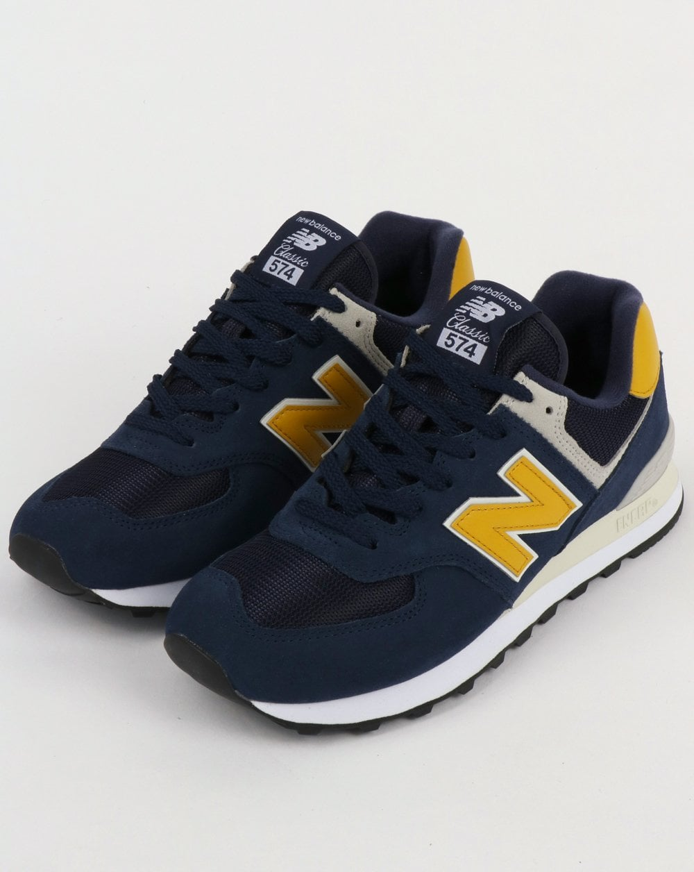 fa4050a95ae10 New Balance 574 Trainers Navy/Yellow,blue,running,shoes,suede,mesh