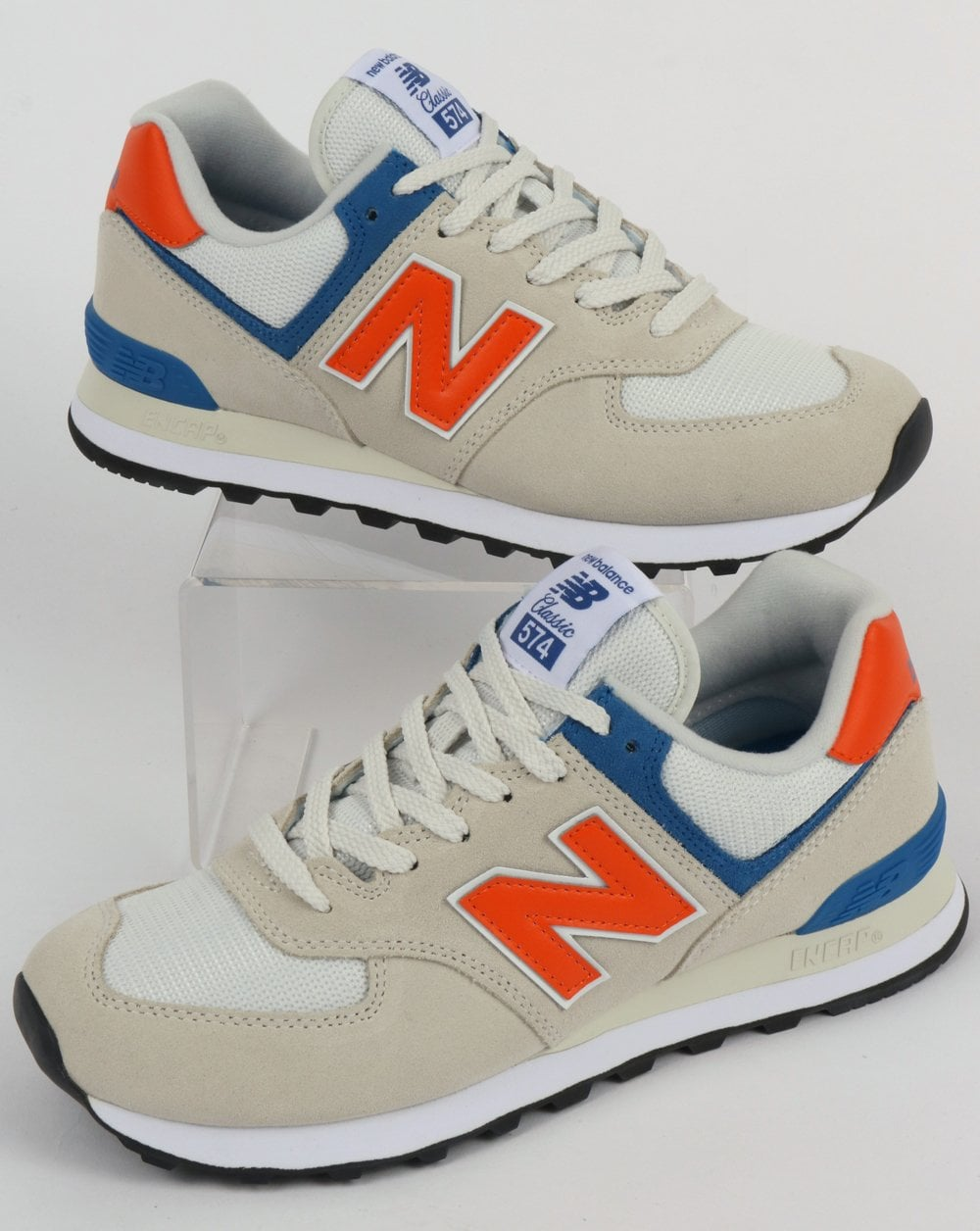 hot sale online c7123 cc61f New Balance 574 Trainers White/Orange