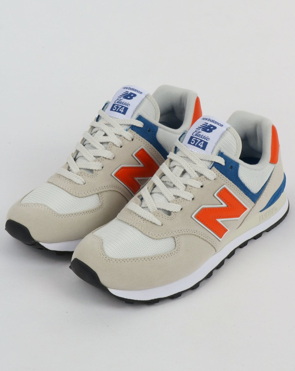 hot sale online af84c cf79d New Balance 574 Trainers White/Orange