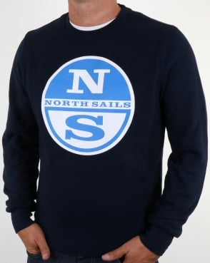 North Sails Lowell Logo Crew Sweat Navy