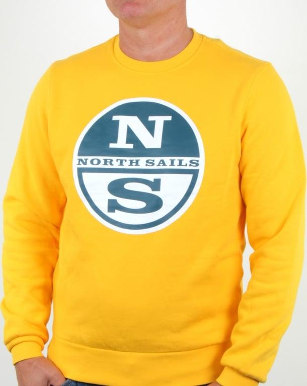 North Sails Lowell Logo Crew Sweat Yellow