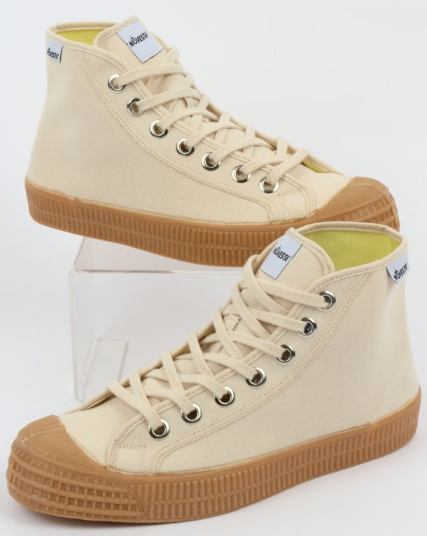Novesta Star Dribble Canvas Hi Top Trainers Beige