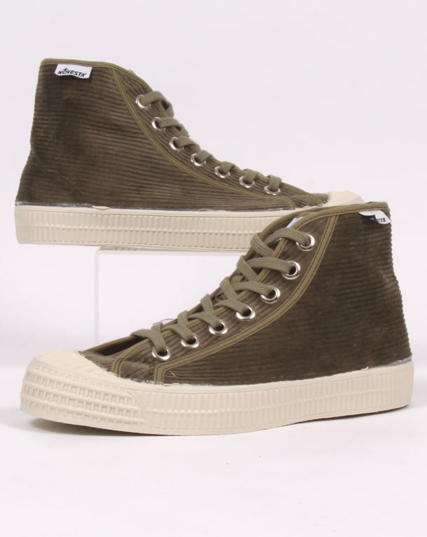 Novesta Star Dribble Corduroy Hi-tops Military Green