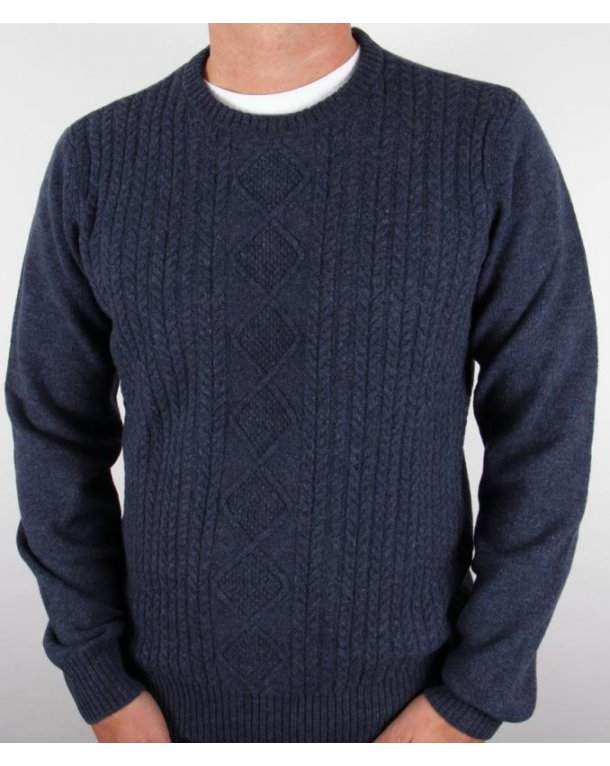 Original Penguin Cable Knit Crew Jumper Dark Navy