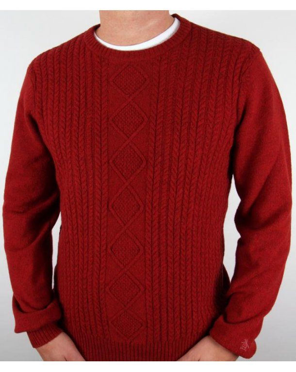 Original Penguin Cable Knit Crew Jumper Dark Red
